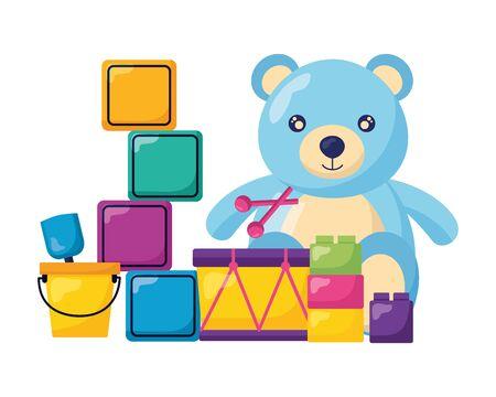 Ilustración de kids toys cubes bucket bear drum blocks vector illustration - Imagen libre de derechos