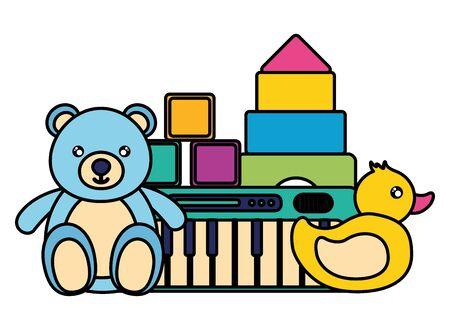 Ilustración de kids toys bear duck piano cubes blocks vector illustration - Imagen libre de derechos