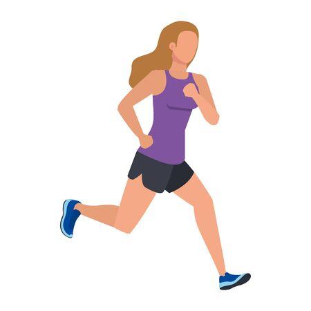 Ilustración de young athletic woman running character vector illustration design - Imagen libre de derechos
