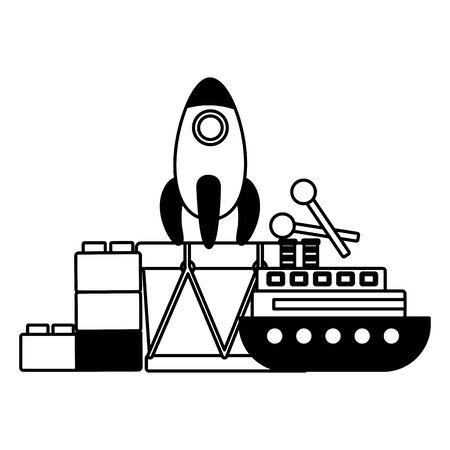 Ilustración de baby toys rocket boat drum blocks vector illustration - Imagen libre de derechos
