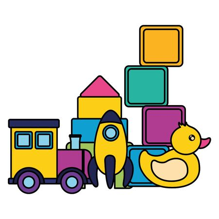 Illustration pour kids toys cubes rocket train duck vector illustration - image libre de droit