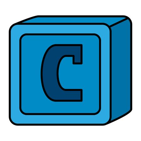Ilustración de alphabet block toy baby with letter c vector illustration design - Imagen libre de derechos