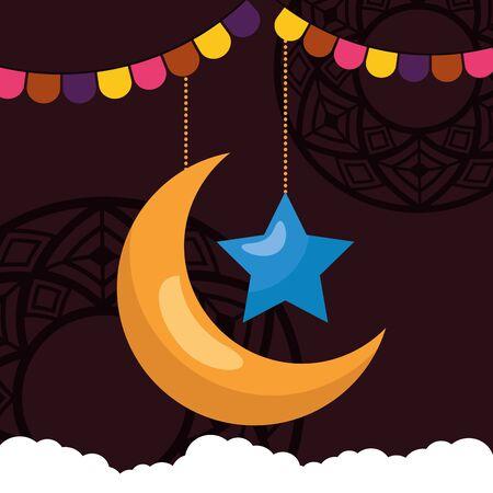 Illustration for moon star clouds garland celebration eid mubarak vector illustration - Royalty Free Image