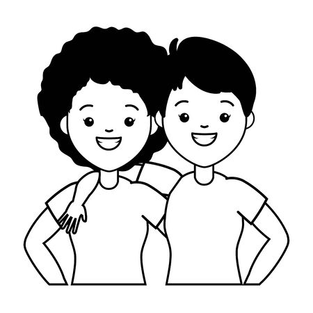 Ilustración de happy couple women lgbt pride vector illustration - Imagen libre de derechos