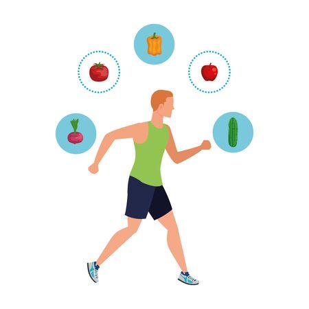 Ilustración de young athletic man running with healthy food vector illustration design - Imagen libre de derechos