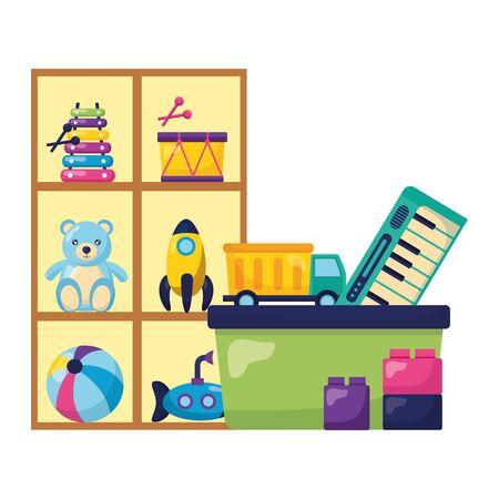 Ilustración de kids toys shelf bucket bear rocket drum submarine truck blocks vector illustration - Imagen libre de derechos