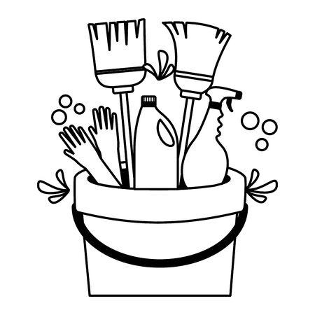Illustration pour bucket broom gloves spray spring cleaning tools vector illustration - image libre de droit