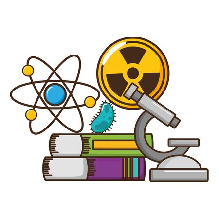 Illustration pour school science radiation atom books bacteria miscroscope vector illustration design - image libre de droit