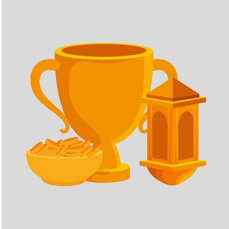 Illustration for golden chalice cup with dish and coins vector illustration design - Royalty Free Image