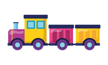 Illustration pour train wagons kids toys on white background vector illustration - image libre de droit