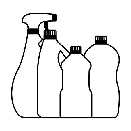 Illustration pour bottles spray spring cleaning tools vector illustration - image libre de droit