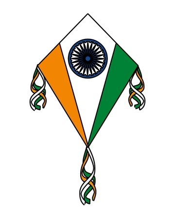 Illustration pour kite flying with indian flag country vector illustration design - image libre de droit