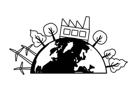 Illustration pour planet factory ecology energy earth day vector illustration - image libre de droit