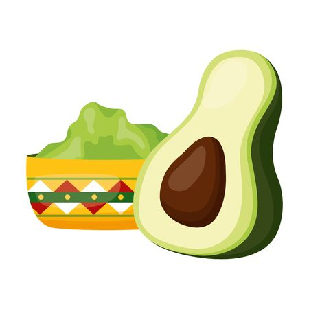 Illustration for avocado and guacamole sauce in bowl vector illustration - Royalty Free Image