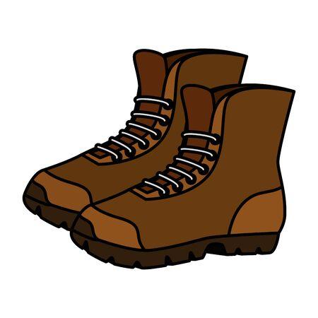 Ilustración de boots shoes adventure accessory icon vector illustration design - Imagen libre de derechos