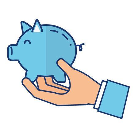 Illustration for hand with piggy bank saving vector illustration - Royalty Free Image