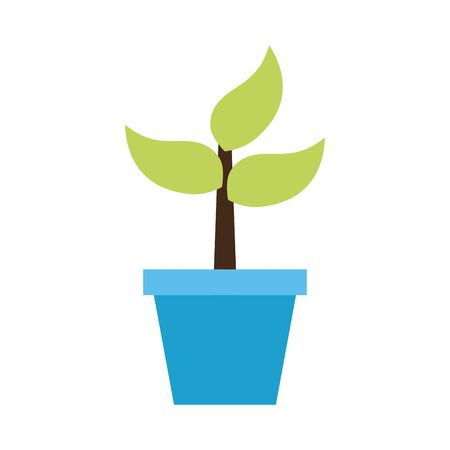 Illustration for potted plant nature white background vector illustration - Royalty Free Image