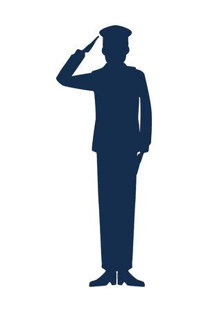 Illustration pour military man silhouette icon vector illustration design - image libre de droit