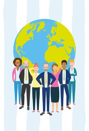 Illustration pour diversity man and woman characters world people vector illustration - image libre de droit