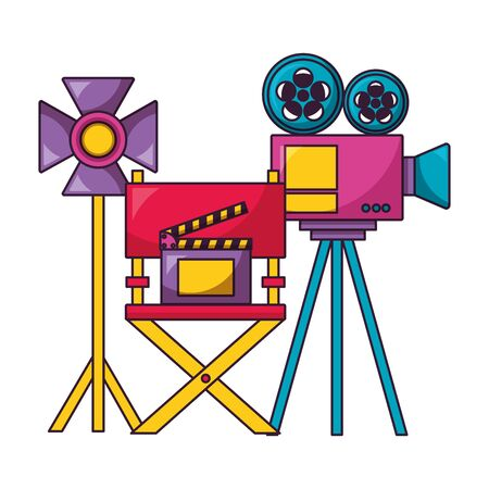Ilustración de projector light chair clapboard cinema movie vector illustration - Imagen libre de derechos
