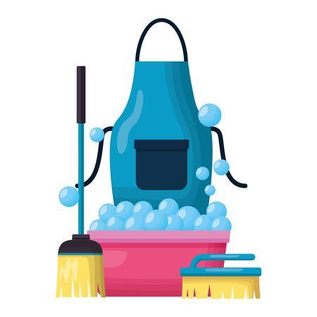 Illustrazione per washing bucket apron broom brush spring cleaning tools vector illustration - Immagini Royalty Free