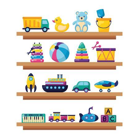 Ilustración de kids toys wooden shelf truck duck bear ball drum car plane train cubes vector illustration - Imagen libre de derechos