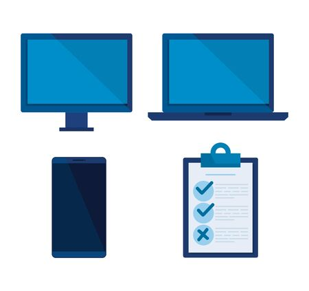 Illustration pour set computer with laptop and smartphone technology vector illustration - image libre de droit