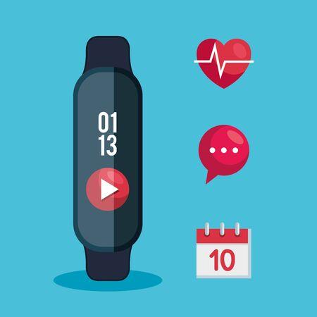 Illustration pour electronic smartwatch technology with social app vector illustration - image libre de droit