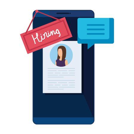 Illustration pour smartphone with hiring label and curriculum vector illustration design - image libre de droit