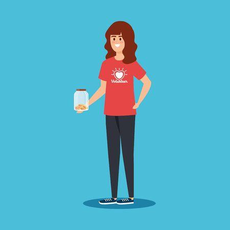 Ilustración de girl volunteer with moneybox and coins donation vector illustration - Imagen libre de derechos