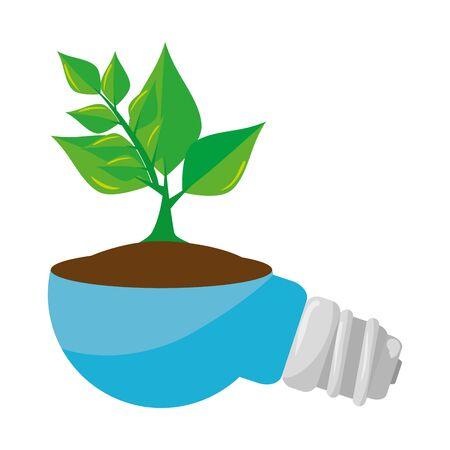 Ilustración de saver bulb energy with plant vector illustration design - Imagen libre de derechos