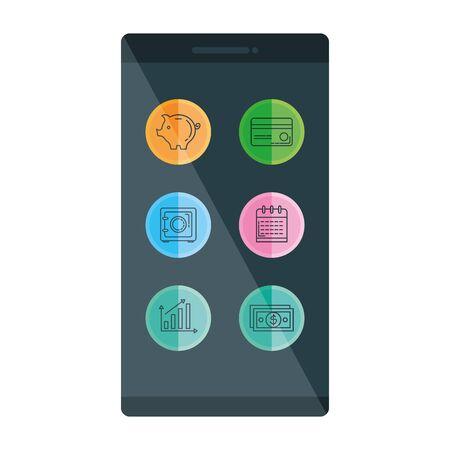 Illustration pour smartphone with business icons vector illustration design - image libre de droit