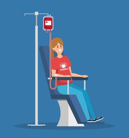 Ilustración de girl volunteer with blood donation to help vector illustration - Imagen libre de derechos