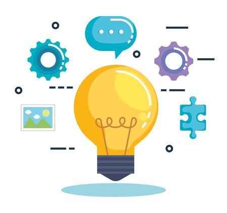 Ilustración de bulb with business marketing vector illustration design - Imagen libre de derechos