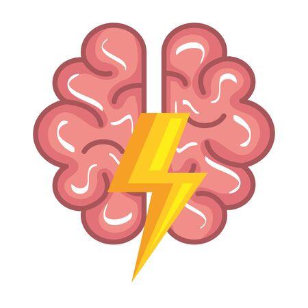 Ilustración de brain human organ with ray power vector illustration design - Imagen libre de derechos