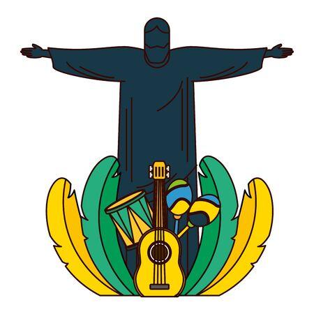 Illustration for christ guitar drum maracas feathers brazil carnival vector illustration - Royalty Free Image