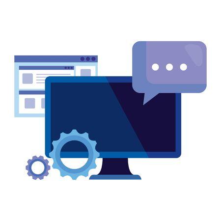 Illustration pour desktop computer with gears and speech bubble vector illustration design - image libre de droit