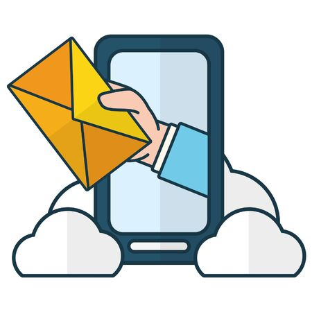 Illustration pour hand with envelope smartphone cloud computing send email vector illustration - image libre de droit