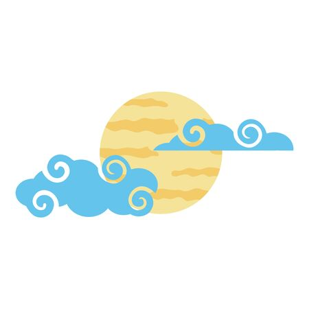 Illustration pour Moon and clouds design, Night bedtime sky space moonlight nature and space theme Vector illustration - image libre de droit