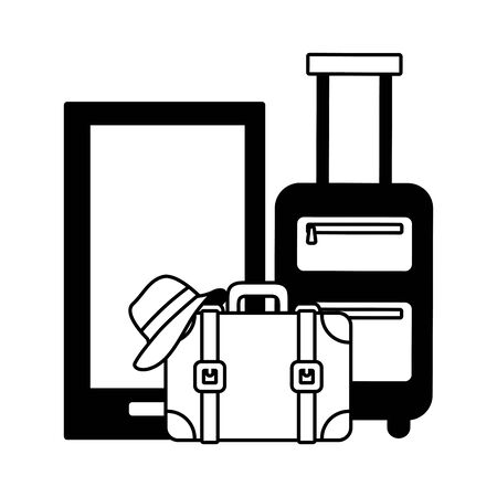 Illustration for vacations smartphone bag suitcase and hat vector illustration - Royalty Free Image