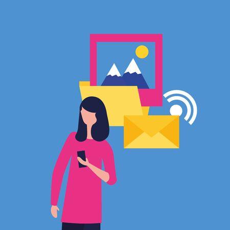 Illustration pour Social media and multimedia icon set, Apps communication and digital marketing theme Colorful design Vector illustration - image libre de droit