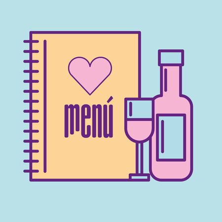 Illustration pour Wine cup and bottle design, Food restaurant menu dinner lunch cooking meal and tasty theme Vector illustration - image libre de droit