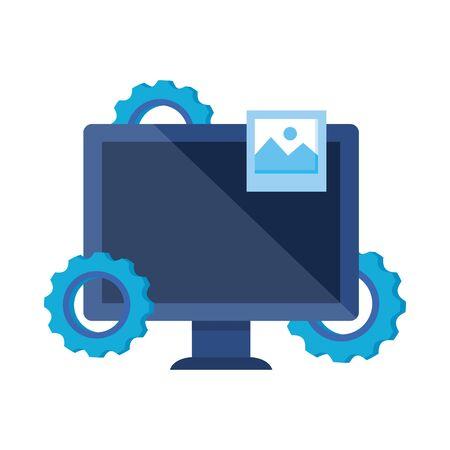 Illustration pour desktop computer with gears settings vector illustration design - image libre de droit