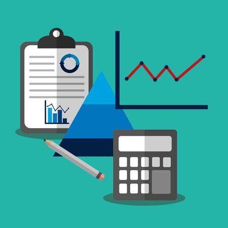 Ilustración de Statistics design, Infographic data information business analytics and visual presentation theme Vector illustration - Imagen libre de derechos