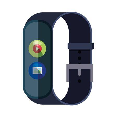 Illustration pour smartwatch with media player button and picture file vector illustration design - image libre de droit