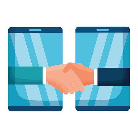 Ilustración de hands business persons done deal with smartphones vector illustration design - Imagen libre de derechos