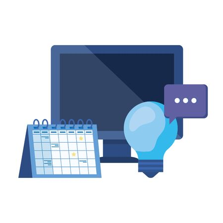 Illustration pour desktop computer with calendar reminder vector illustration design - image libre de droit