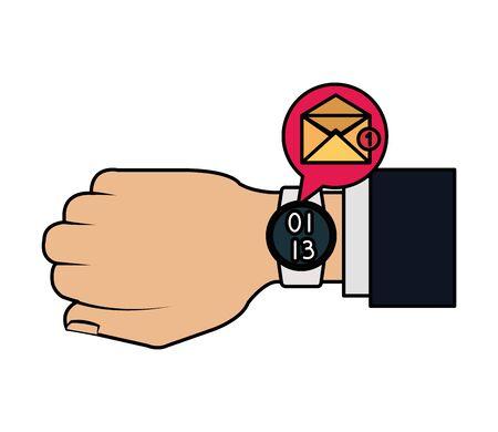 Illustration pour hand with smartwatch sending email vector illustration design - image libre de droit