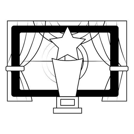 Illustration pour screen award curtains film cinema design vector illustration - image libre de droit