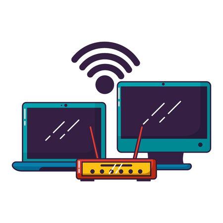Illustration pour laptop computer router wifi free connection vector illustration - image libre de droit